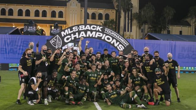 Portland Timbers, winners of the MLS is Back Tournament at ESPN Wide World of Sports Complex