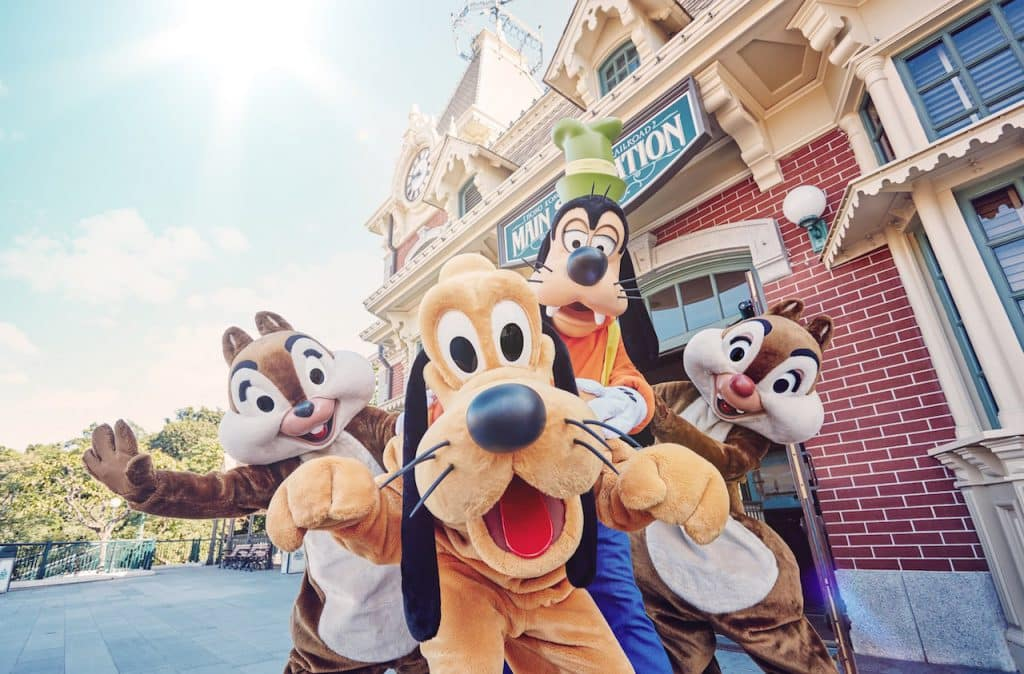 Pluto, Goofy, Chip and Dale at Hong Kong Disneyland