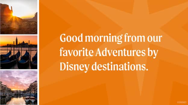 graphic of sunrises from Adventures by Disney destinations