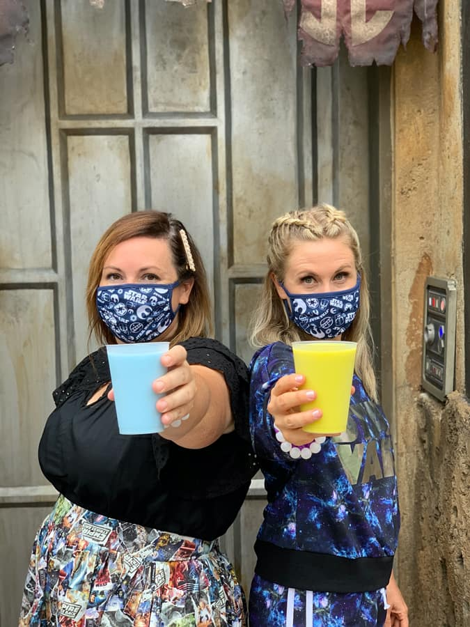 Ashley Eckstein and her sister Tara with Blue Milk and Green Milk in Star Wars: Galaxy's Edge at Disney's Hollywood Studios