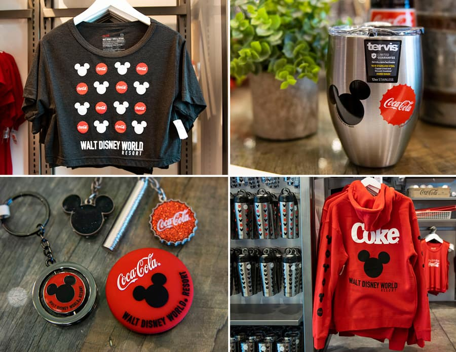 Items from Coca-Cola x Walt Disney World Resort Collection at Disney Springs - Shirt, Tervis, Keychains and Sweatshirt
