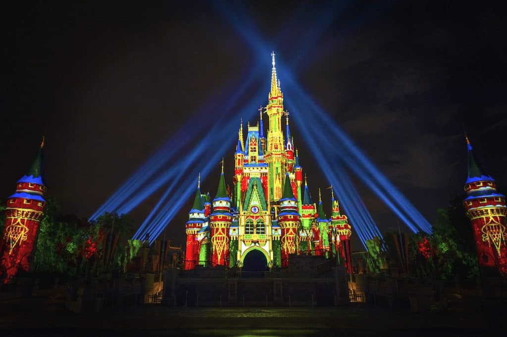 Special holiday projection effects on Cinderella Castle
