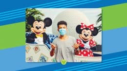 Jordan Fisher with Mickey Mouse and Minnie Mouse at EPCOT