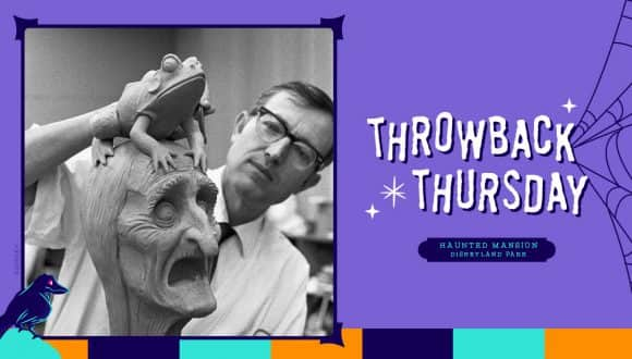 """Imagineer and Disney Legend Blaine Gibson sculpting a """"pop-up"""" ghost for the Haunted Mansion in 1968"""