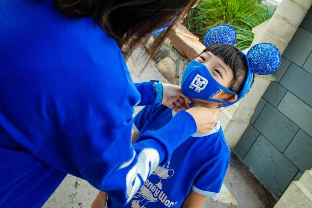 Wishes Come True Blue Mickey Mouse Ear headband, mask and shirt with Walt Disney World Resort logo