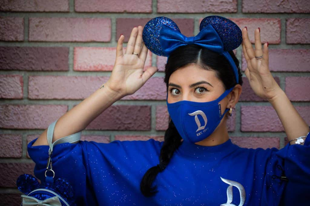 Wishes Come True Blue Minnie Mouse Ear headband, mask, and spirit jersey with Disneyland Resort logo