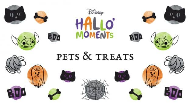 Disney HalloMoments graphic featuring pets and treats