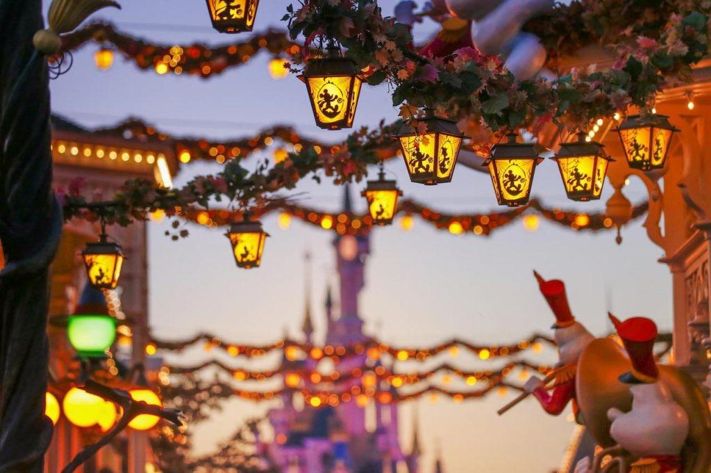 Sunset on Halloween decorations at Disneyland Paris