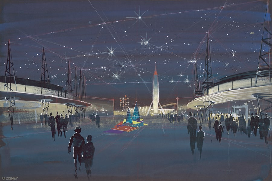 Tomorrowland entrance, Herb Ryman, 1954. A majestic rocket ready to penetrate space was always a part of Walt's Tomorrowland. © Disney