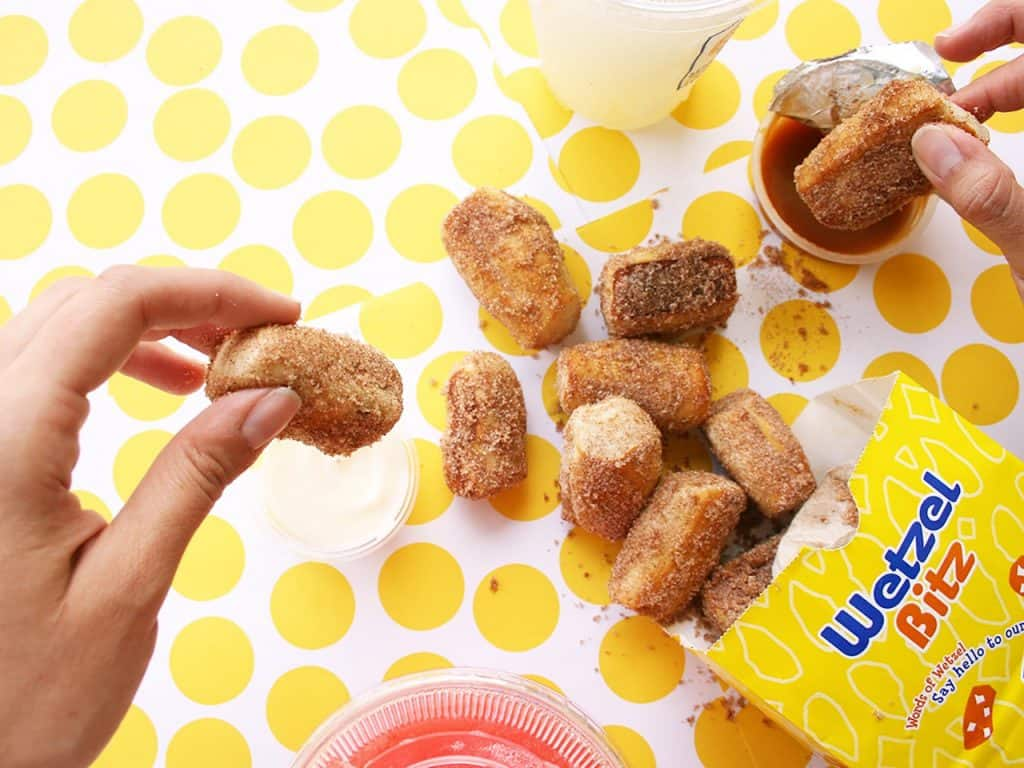 Cinnamon Bitz with Caramel Sauce from Wetzel's Pretzels at the Downtown Disney District at Disneyland Resort