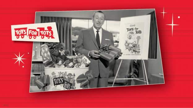 Graphic of Walt Disney with Toys for Tots gifts