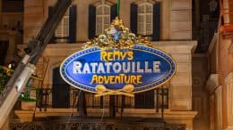 Marquee being installed at Remy's Ratatouille Adventure at EPCOT