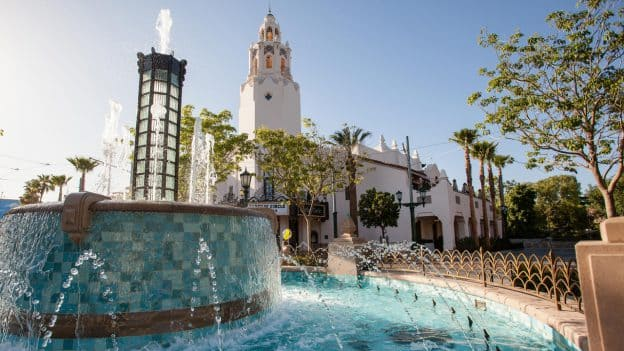 Fountain in front of Carthay Circle Restaurant on Buena Vista Street