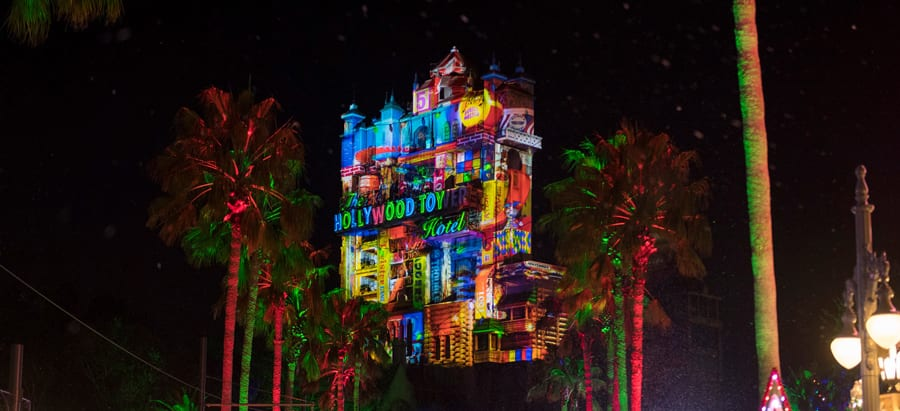 Holiday projection effects on the Hollywood Tower Hotel at Disney's Hollywood Studios