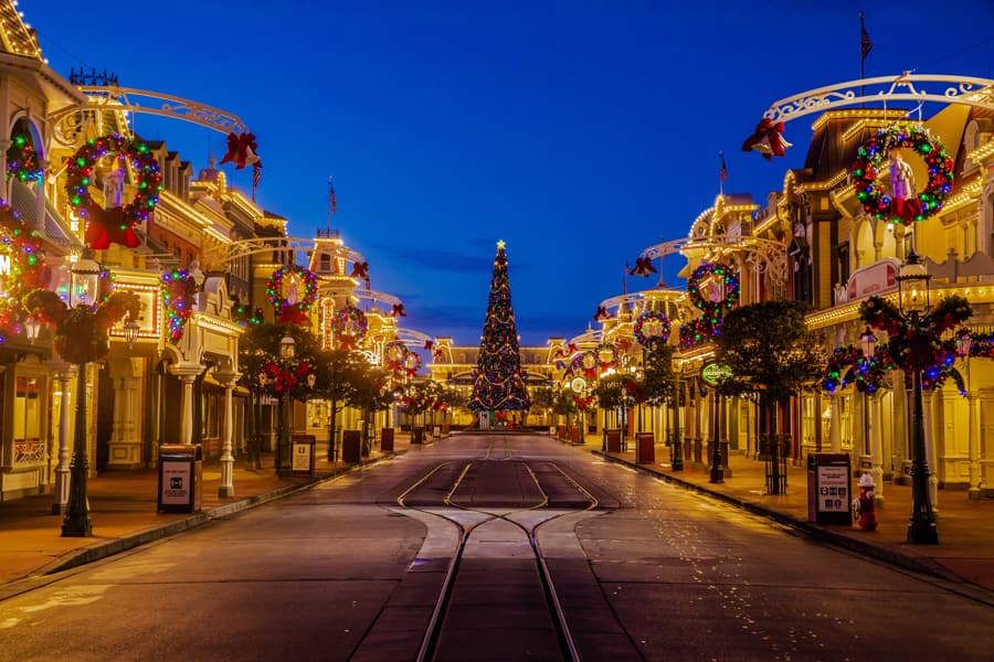 Holiday decor at Magic Kingdom Park