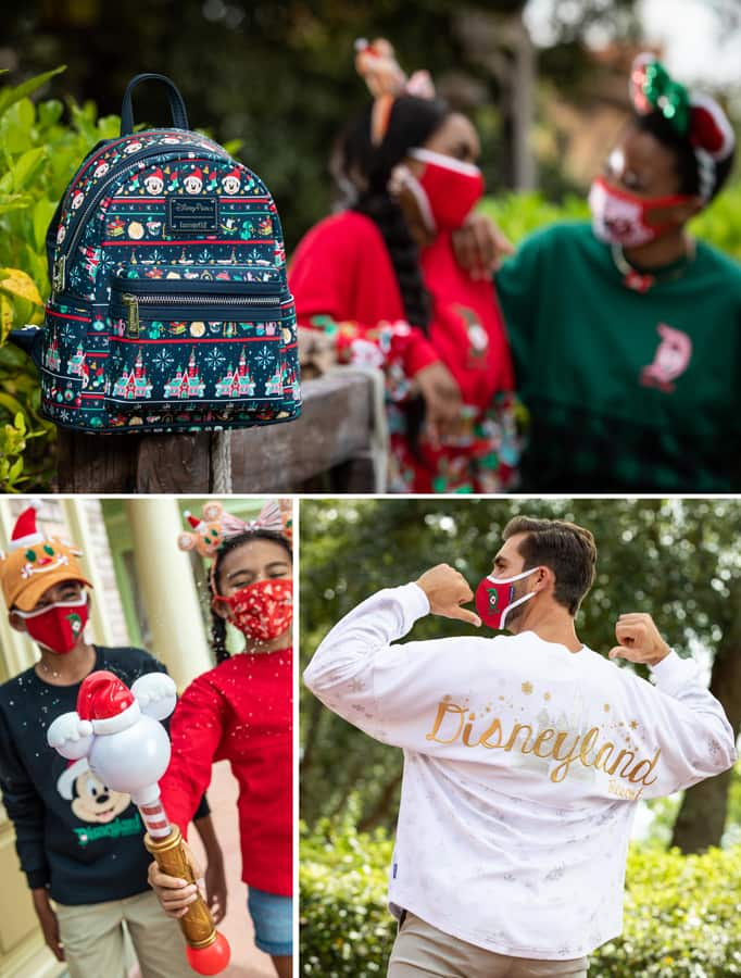 "Collage of holiday merchandise featuring an ""ugly sweater"" Loungefly backpack. new snow blower wand and silver and gold spirit jersey"