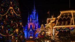 Holiday decor at Magic Kingdom Park at night