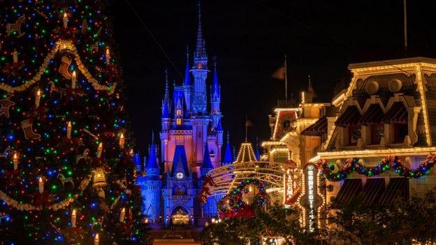 Holiday decor at Magic Kingdom Park at night