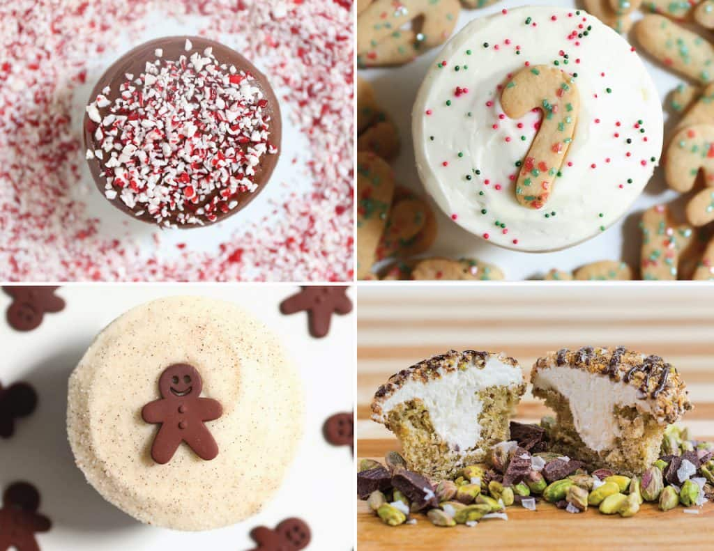 Chocolate Peppermint, Christmas Cookie, Gingerbread, and Cannoli Cupcakes, Sprinkles