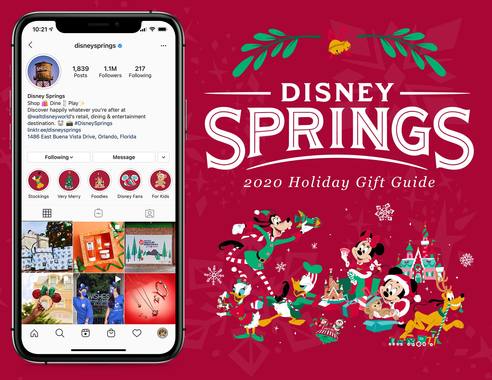 Screenshot of the Disney Springs Virtual Gift Guide