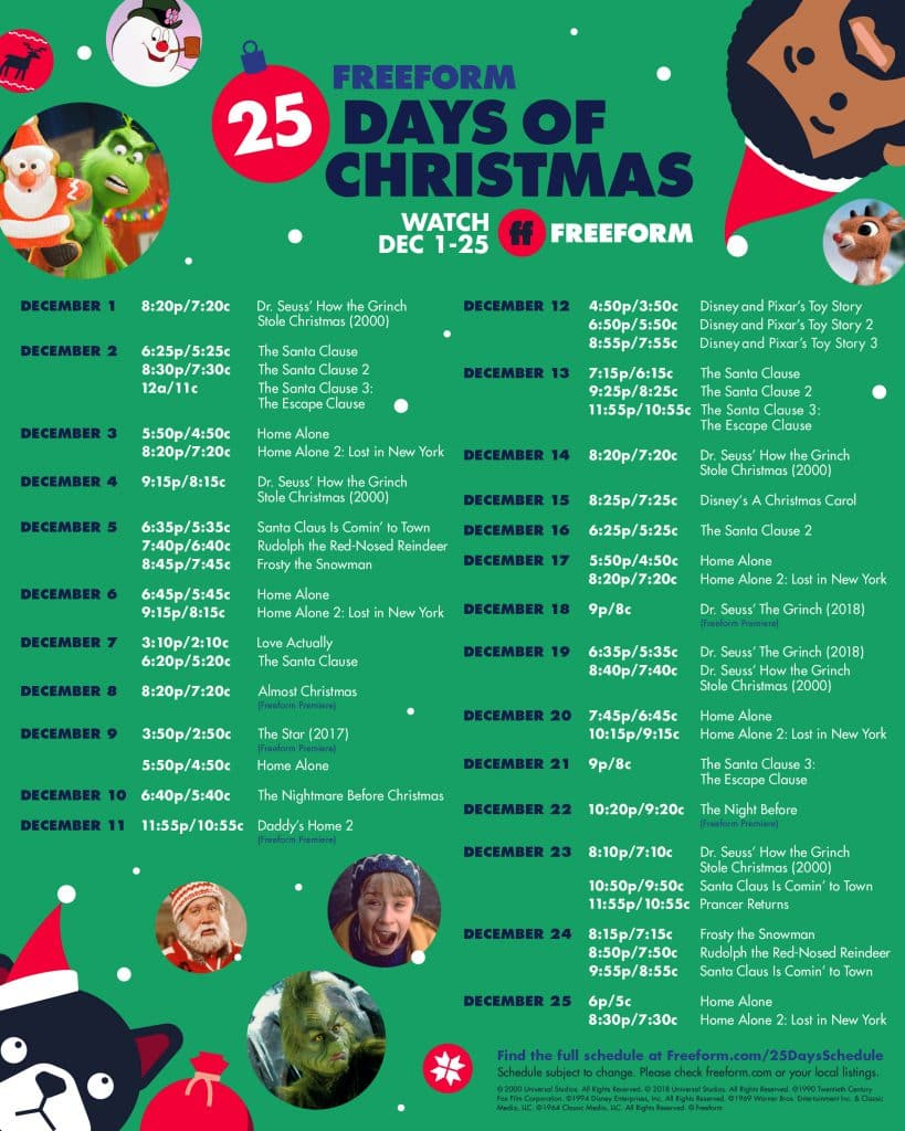 "Freeform's ""25 Days of Christmas"" programming schedule"