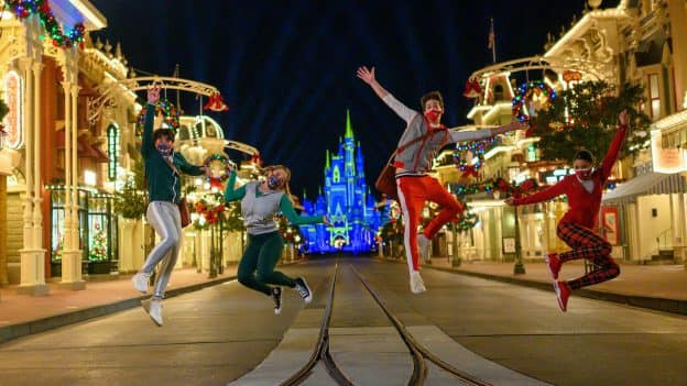 "Disney Channel's ""ZOMBIES 2"" stars, Pearce Joza, Ariel Martin, Milo Manheim, and Kylee Russell, compete in ""Disney Holiday Magic Quest,"" a high-stakes, holiday adventure inside Magic Kingdom Park at Walt Disney World Resort after dark."