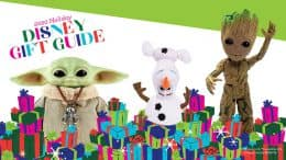 2020 Disney Holiday Gift Guide featuring The Child Real Moves Plush by Mattel , Shape Shifter Olaf plush toy and Interactive Groot Action Figure