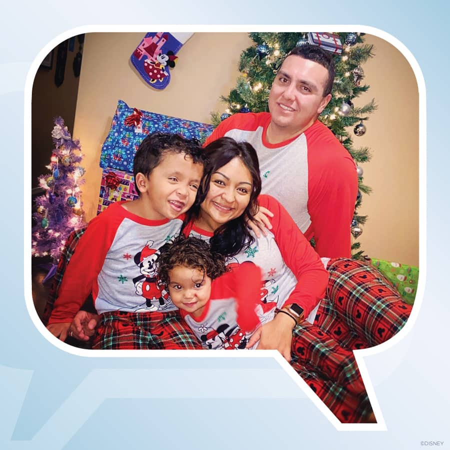 planDisney panelist Shantel and her family wearing Disney Christmas pajamas