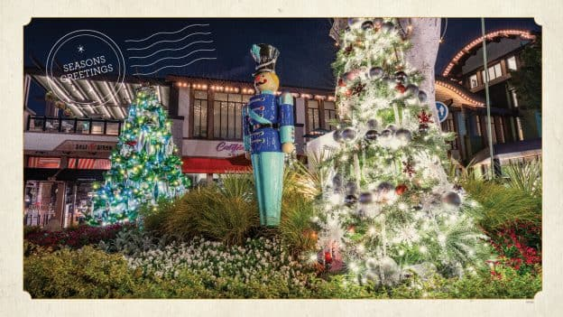 Downtown Disney District decorated for the holidays at Disneyland Resort