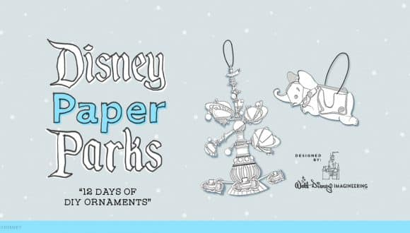 Graphic of Disney Paper Parks ornaments