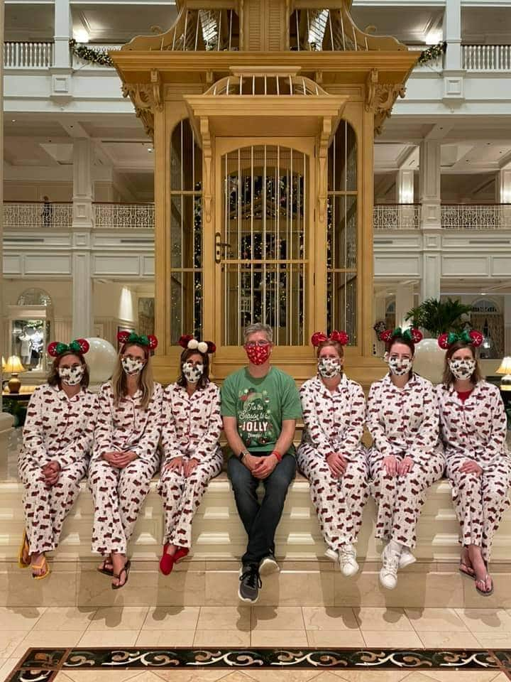 Guests in Christmas pajamas at Disney's Grand Floridian Resort and Spa