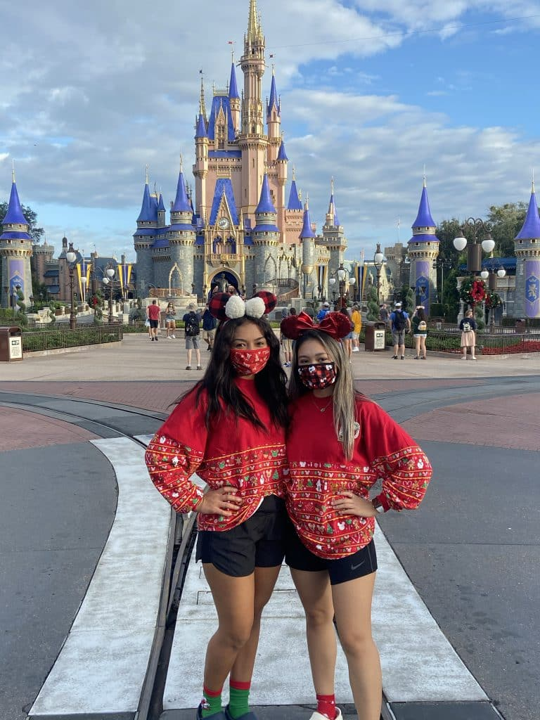 Guests in holiday gear at Magic Kingdom Park