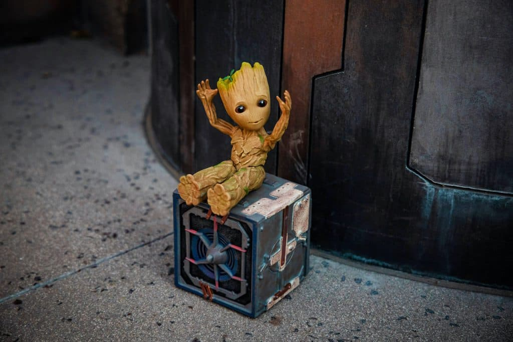 Interactive Groot action figure and Bluetooth speaker
