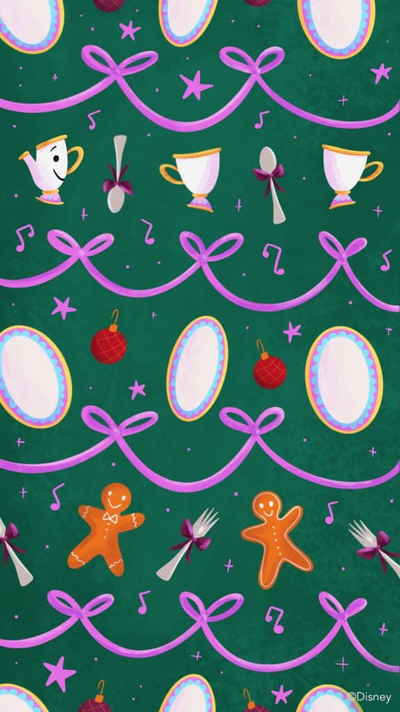 Beauty and the Beast themed wallpaper featuring the dishes