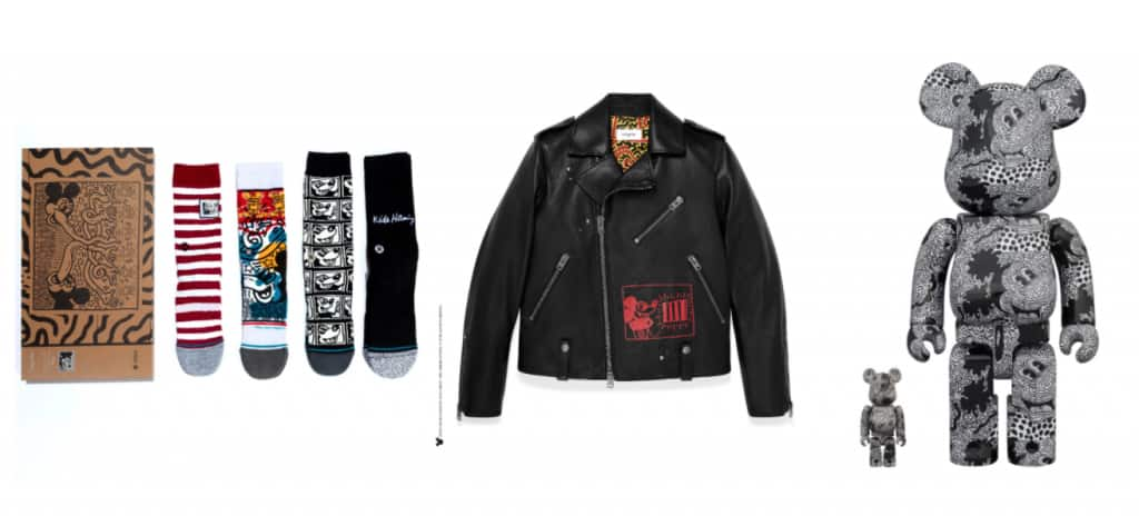 Mickey Mouse and Artist Keith Haring Stance products, Coach jacket and Be@rbrick figure