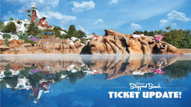 Disney's Blizzard Beach Water Park ticket update graphic