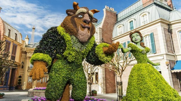 Belle and Beast topiary at EPCOT