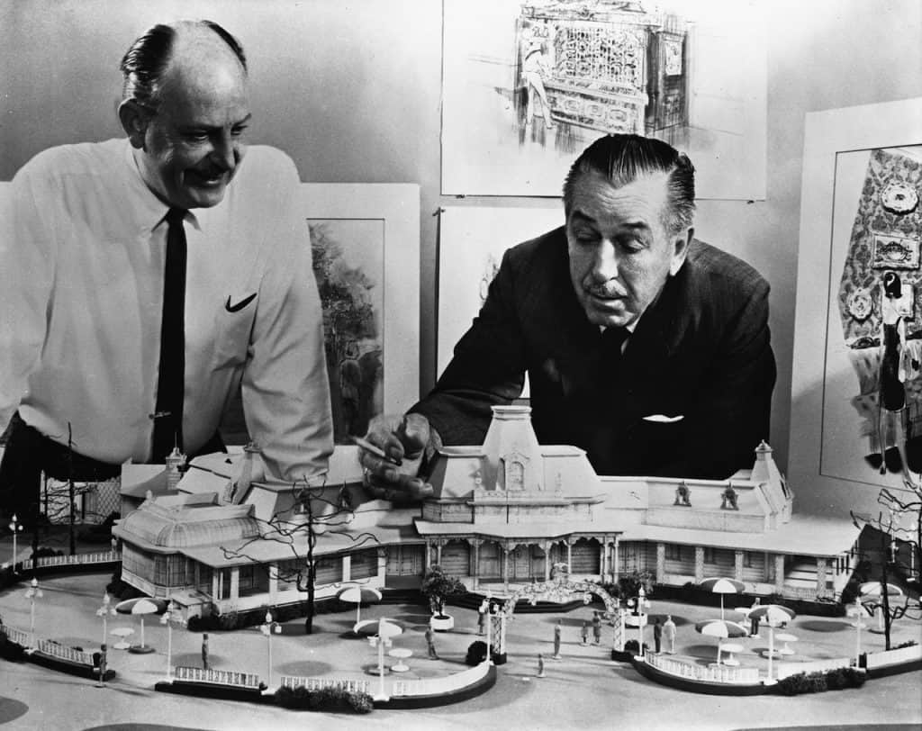 John Hench and Walt Disney with a model of the Plaza Inn