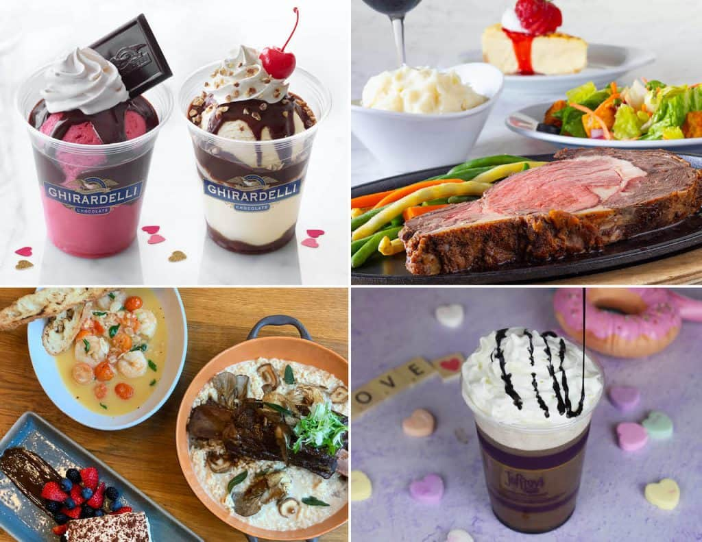 Collage of Valentine's Day offerings from Disney Springs