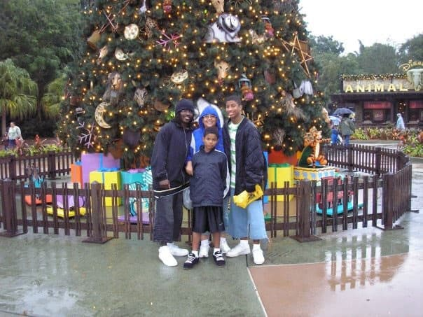 9 year old Trevor with his family outside Disney's Animal Kingdom (December 25th, 2006)