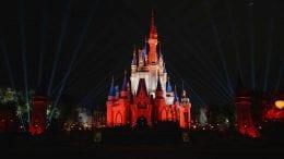 Cinderella Castle in the Tampa Bay Buccaneers colors