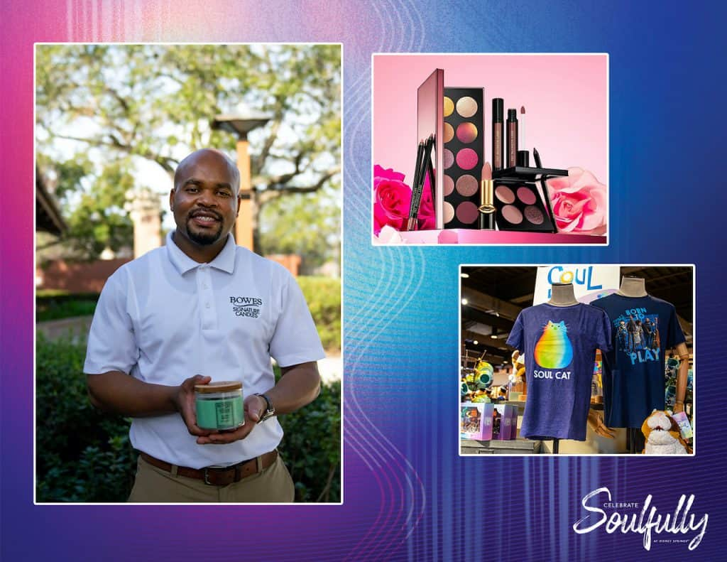 """Collage of Bowes Signature Candles, Sephora products and """"Soul"""" merchandise"""
