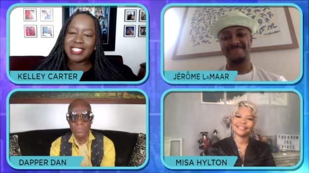 """Screenshot of Kelley Carter of ESPN's """"The Undefeated"""" interviewing stylists and fashion designers Dapper Dan, Misa Hylton and Jerome Lamaar"""