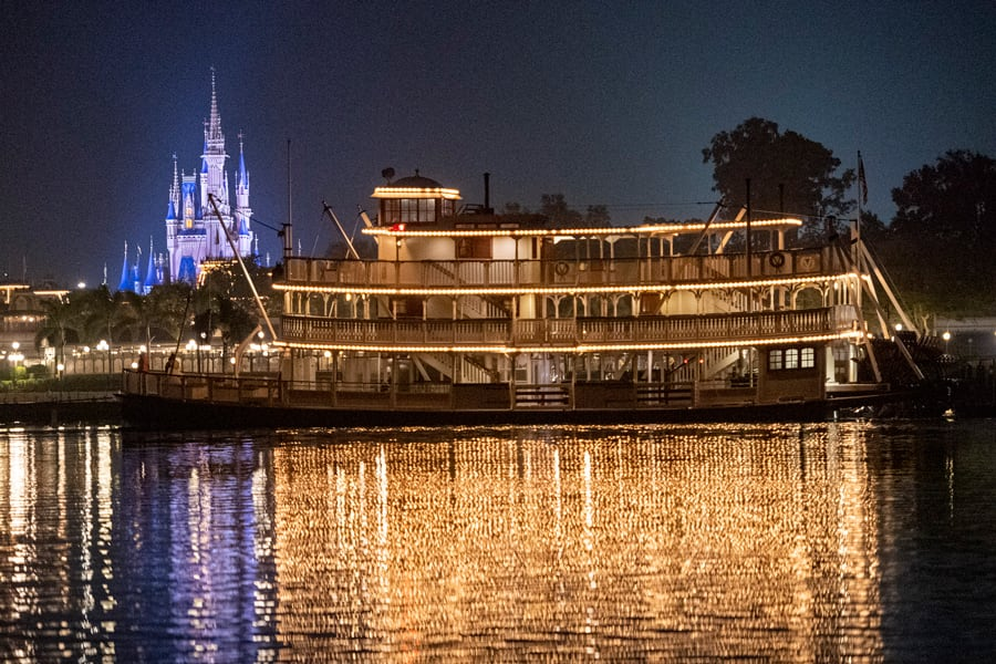 The Liberty Belle sails in front of Magic Kingdom Park