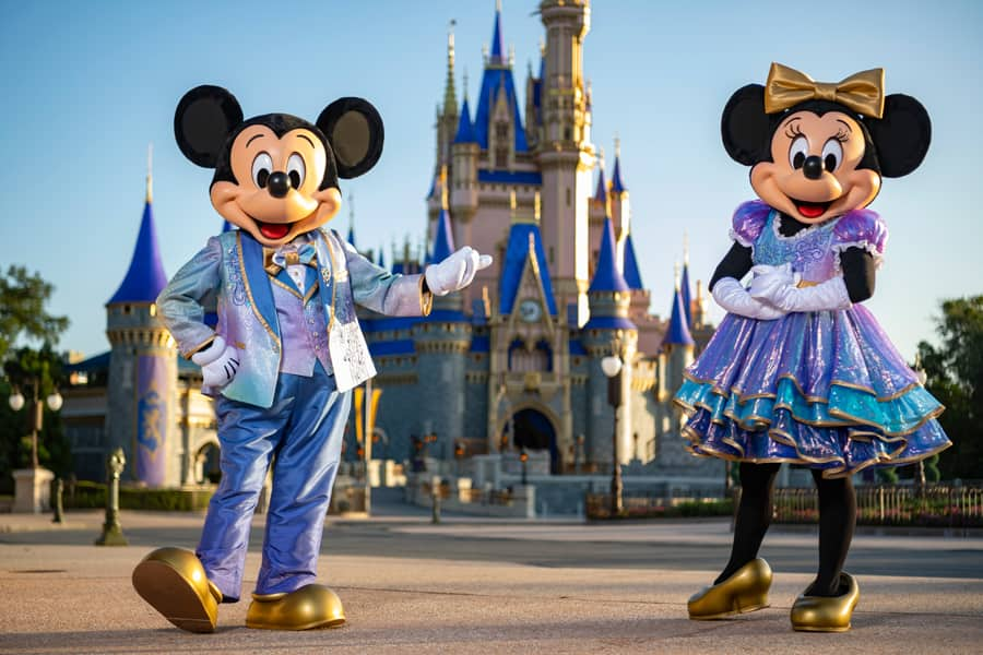 "Mickey Mouse and Minnie Mouse, wearing sparkling new looks for ""The World's Most Magical Celebration"" in honor of Walt Disney World Resort's 50th anniversary"