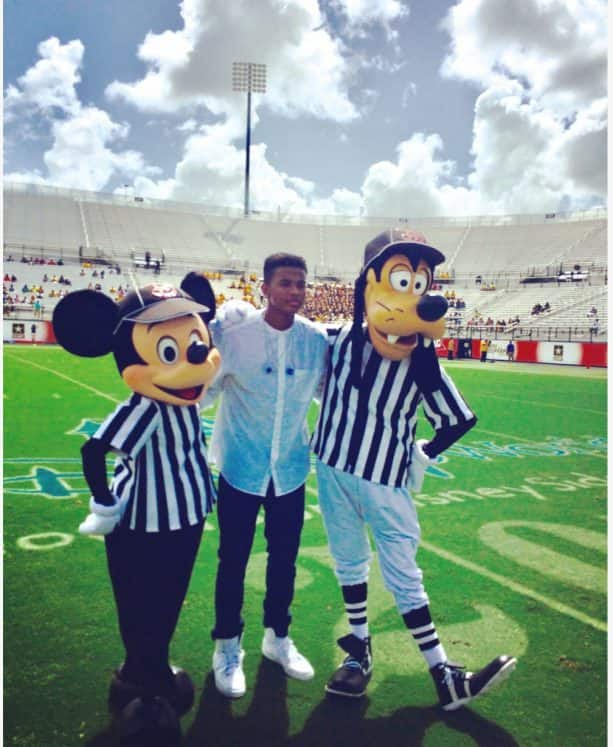 Trevor after performing at MEAC/SWAC (HBCU) 10th Anniversary Challenge presented by Disney in Orlando, FL. (August 2014)