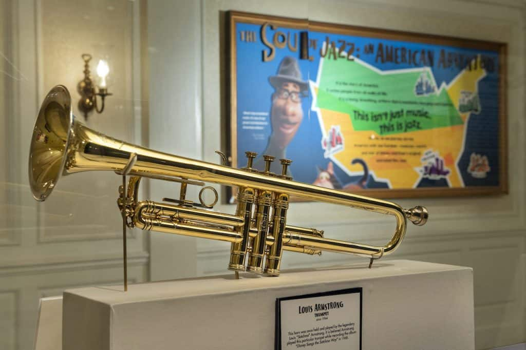 Trumpet owned by Louis Armstrong on display at 'The Soul of Jazz: An American Adventure' at EPCOT