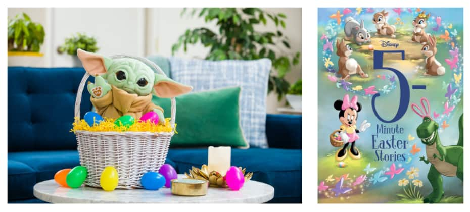 Collage of Grogu plush and 5-Minute Easter Stories book