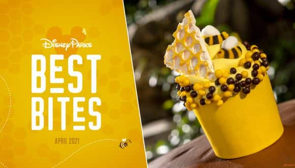 Disney Parks Best Bites graphic with Honey Bee Cupcake