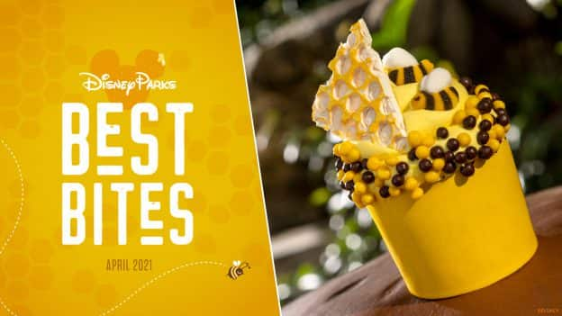 Disney Parks Best Bites graphic with Honey Bee Cupcake